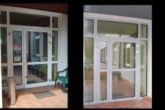 Drzwi wejściowe od strony tarasu( przed i po wymianie)