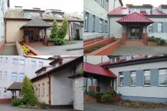 Wejście do budynku od strony głównej(widok przed i po remoncie)