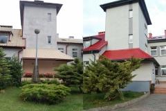 Widok od strony ogrodu( przed i po remoncie)